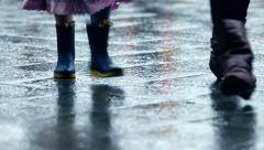 Stock Video Footage of Many People Walking on a Rainy Day with wet shoes in the City in HD