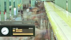 Modern Train Station Timelapse with People and Train Dynamic  in  1080p HD Stock Footage