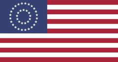 us civil war union -37 star medalion- flag flat - stock illustration