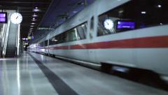 Modern Train Station with People and Train Dynamic  in 1080p HD Stock Footage