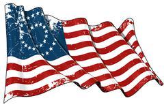 us civil war union -37 star medallion - scratched flag - stock illustration