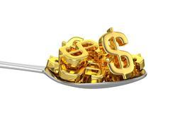 Spoon And Golden Dollars Stock Illustration
