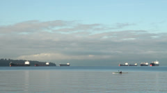 English Bay Freighters and Kayak, Vancouver Stock Footage