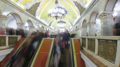 Moscow subway timelapse, eskalator on station Komsomolskaya   Stock Footage