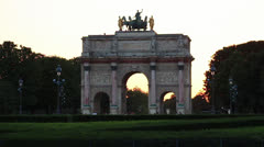 Louvre arc monument Paris sunset - HD - stock footage