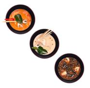 Set of traditional chinese soup in a black plate Stock Photos