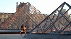 Louvre pyramides Paris tourists - HD - stock footage