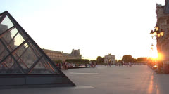 Louvre museum Paris sunset pan 180°, France - stock footage