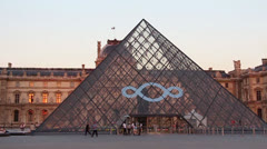 Paris Louvre big pyramid frontal shot - HD - stock footage