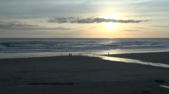 Oregon Cannon Beach at low sun Stock Footage