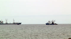 Commercial Fishing Boats Setting Nets Ocean Fishery Food Jobs Industry Longshot - stock footage