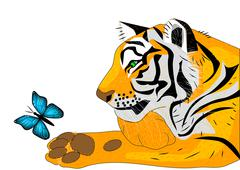 Tiger releases for free butterfly Stock Illustration
