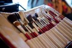 makeup tools in their holder - stock photo