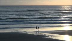 Oregon Cannon Beach people walking Stock Footage