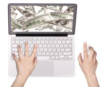 Laptop making money concept isolated - stock photo