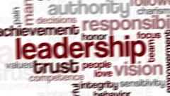 Animation of word cloud related to leadership Stock Footage