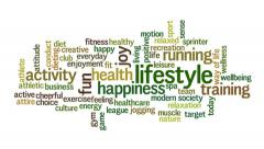 Animation of word cloud related to healthy lifestyle Stock Footage