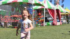 Kids Running At The Fair Stock Footage