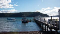 SeaPlane arrives at Wharf on Tranquil Harbour Time Lapse 113GYPBW NTSC Stock Footage