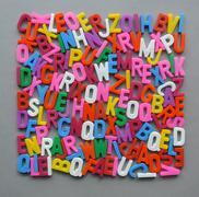 colorful letter texture shape arranged - stock photo