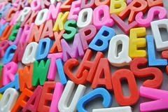 colorful letter texture chaos word - stock photo