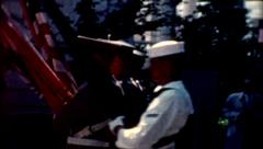 1960 american soldiers marching with flags Arlington National Cemetery patriotic - stock footage