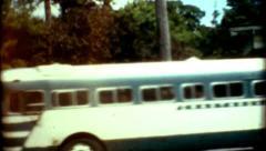 Chautauqua Institution 1960s City bus cross screen Stock Footage