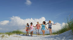 Multi Ethnic Teenagers Fun Beach Time Together Stock Footage