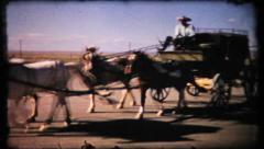 343 - family on stagecoach ride at tourist stop - vintage film home movie Stock Footage