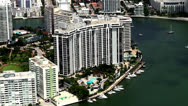 Stock Video Footage of Miami Aerial, Yachts, Marina, Coastal City, Buildings