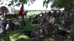 Confederate soldiers relaxing - Battle of Gettysburg Stock Footage