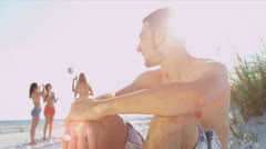 Close Up Caucasian Male Teenager Friends Beach Background - stock footage