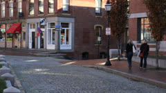 People shopping in Portland Maine's historic Old Port District Stock Footage