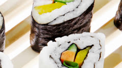Maki Rolls and California rolls Stock Footage