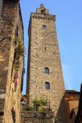 stone cuganensi tower medieval town san gimignano tuscany italy - stock photo
