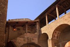 dante hall medieval town san gimignano tuscany italy - stock photo