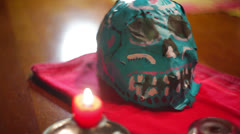 Day of the dead skull voodoo voudou Stock Footage
