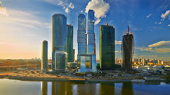 Modern offcie buildings, Moscow, Russia, time-lapse. Stock Footage