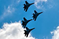 Team flight of su-27 Stock Photos