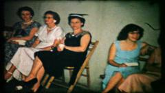 346 - wedding guest at reception have a drink - vintage film home movie - stock footage