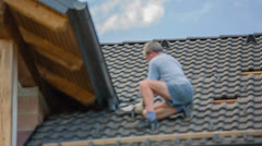 Delivering New Roof Tiles to Replace Broken Ones Stock Footage