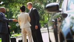 Successful Business People Limousine Meet and Greet Stock Footage