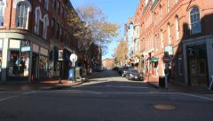 Portland Maine's historic Old Port District, tilt down - stock footage