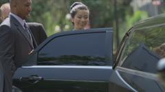 Multi Ethnic Business Executives Using Limousine Stock Footage