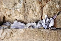 notes in western wall, jerusalem, israel - stock photo