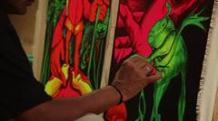 INDIA, GOA, 2 JANUARY:  fluorescent art Stock Footage