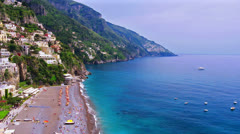 Landscape, famous tourist resort, seaside village Positano, Amalfi coast, Italy. Stock Footage