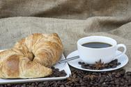 Stock Photo of coffee and pastries continental breakfast buffet table setting