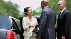Limousine Meet and Greet Service Multi Ethnic Passengers Stock Footage