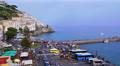 Seaside village Amalfi, high angle view, Italy. Footage